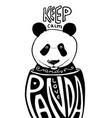 keep calm and love panda poster artwork vector image