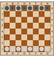 classic checkers board and checkers vector image
