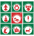 Christmas on a green circle with an icon vector image