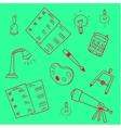 Green backgrounds education school doodles vector image