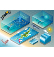 Isometric Tile of Carribean Diving Holidays vector image