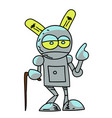 old robot cartoon hand drawn image vector image