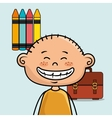 boy student colors school baggage vector image