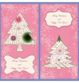 Set of christmas cards with trees and snowflakes vector image vector image