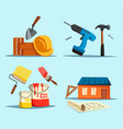 drill and hammer home with ruler and brush vector image