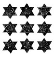 Set of the stars of david created in grunge vector image