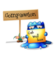 A compassionate monster holding a signage vector image vector image