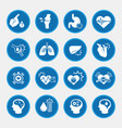 obesity related diseases icons with blue circle vector image