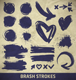 ink brushstroke elements on paper background vector image