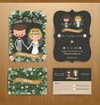 Rustic bohemian cartoon couple wedding card vector image