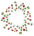 Round Christmas wreath with decoration isolated on vector image