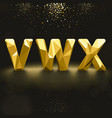 Golden Lowpoly Font from V to X vector image vector image