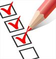 Checkbox with a red pencil vector image