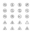 warning sign thin icons vector image