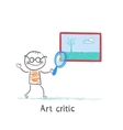 Art critic looks at the picture of a magnifying vector image