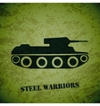 retro tank on green grunge highlight vector image