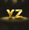 Golden Lowpoly Font from Y to Z vector image vector image