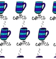Seamless pattern with sketchy h coffee cups vector image