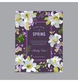 Vintage Lily Floral Colorful Frame vector image