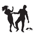 Businessman and businesswoman dancing black vector image