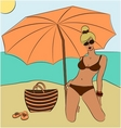 blond girl on the beach vector image
