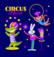 Cute circus artists in cartoon style vector image