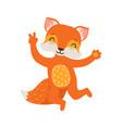 cute orange fox character dancing funny cartoon vector image