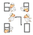 Design numbers set with funny cartoon sheep vector image