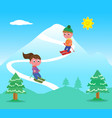 kids skiing on mountains vector image