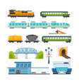 locomotive freight car passenger car station vector image