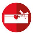 love cardboard box bow romance present shadow vector image