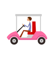 man sitting in car vector image