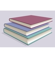 Stack of multicolored books Three textbooks vector image