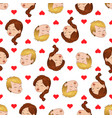seamless pattern of kissing boy and girl liking vector image