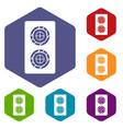 fish roll icons set hexagon vector image