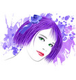 image of a girl with lilac hair and green eyes vector image