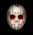 Bloody hockey mask on black background for design vector image