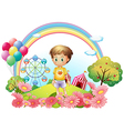 A young boy at the hill with a garden and a vector image