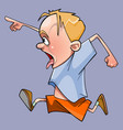 cartoon boy funny and very fast running vector image