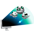 Computer screen with spaceship flying out vector image