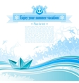 Sea travel background design in blue colors with vector image