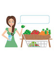 women shopping vegetables and fruits vector image