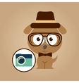 hipster dog symbol camera design vintage vector image