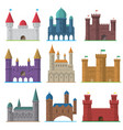 Set of old flat medieval castles vector image