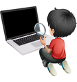 A boy in front of a laptop holding a magnifying vector image vector image