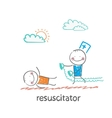 resuscitation in a hurry to sick patient vector image vector image