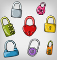 set of cute cartoon hand drawn colorful padlocks vector image