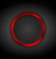 Bright red ring on perforated metallic texture vector image