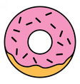 Linear Glazed ring doughnut with sprinkles vector image