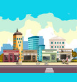street with buildings and shop vector image